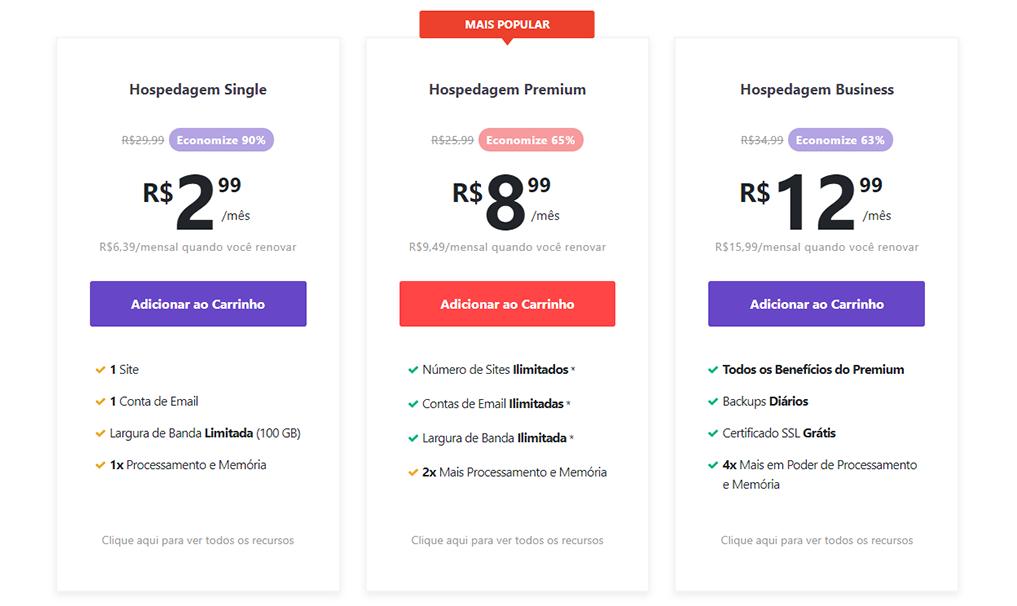 tabela de preços de hospedagem single da hostinger