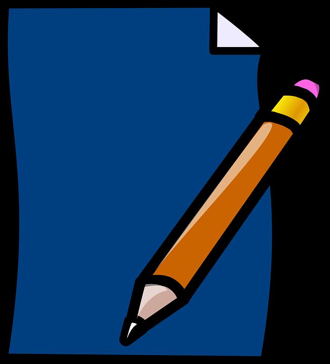 Pencil, Paper, Blue, Eraser, ...