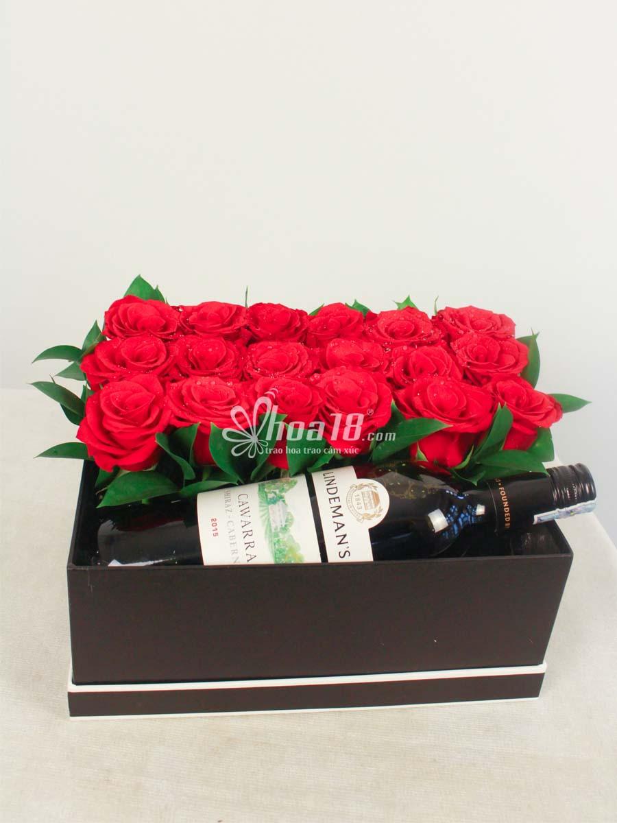 hộp hoa rượu đẹp tặng bạn