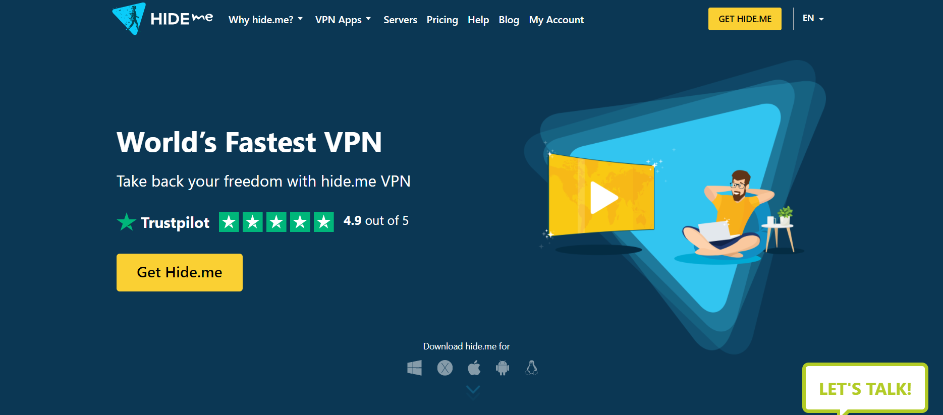 Hide.me - top free vpns for android