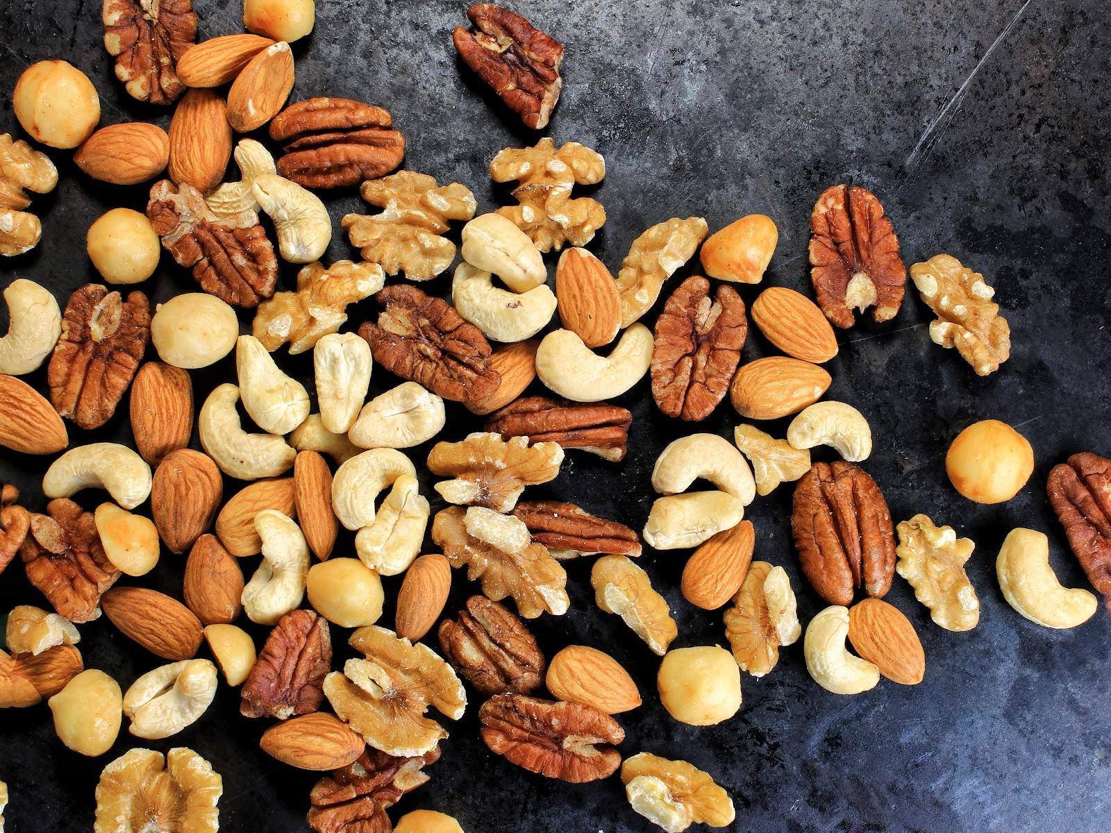 Macadamia, Almonds, walnuts, pecans