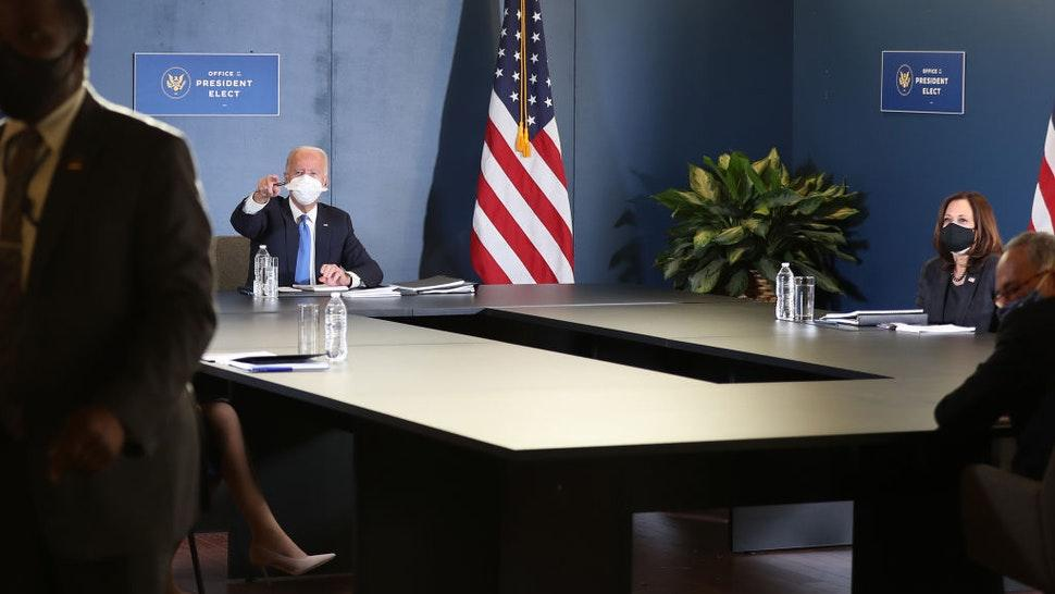 U.S. President-elect Joe Biden and Vice President-elect Kamala Harris hold a meeting with Speaker of the House Nancy Pelosi (D-CA) and Senate Democratic Leader Chuck Schumer (D-NY) at the Queen Theater on November 20, 2020 in Wilmington, Delaware.
