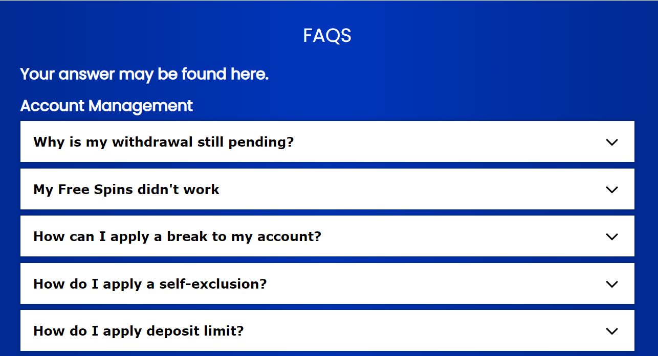 Spin Hill Casino Support FAQs