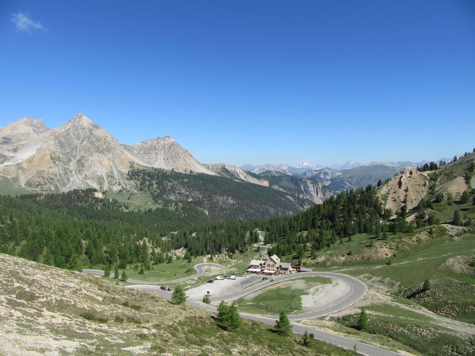Climbing Col d'Izoard from Briancon - hairpins just below the col