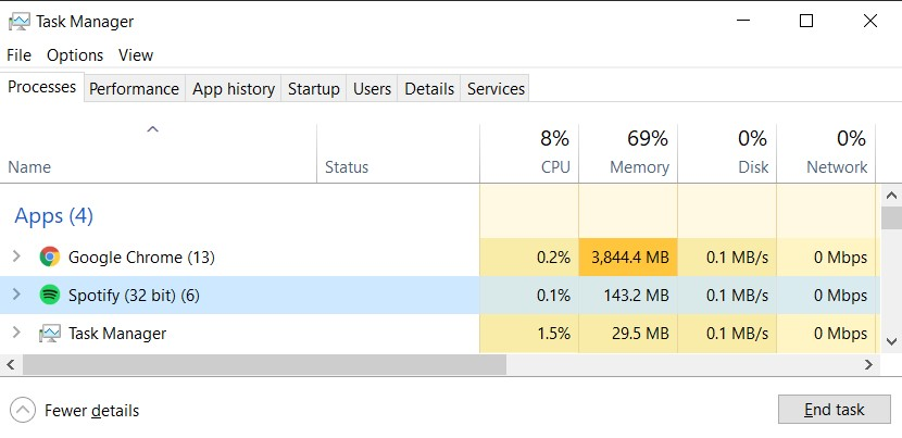 Processes tab in the Windows Task Manager with a selected Spotify process