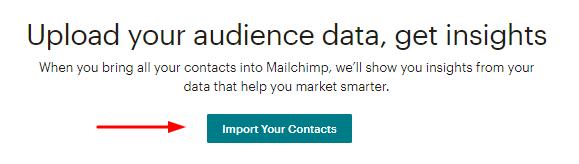 opção de importar contatos pelo mailchimp