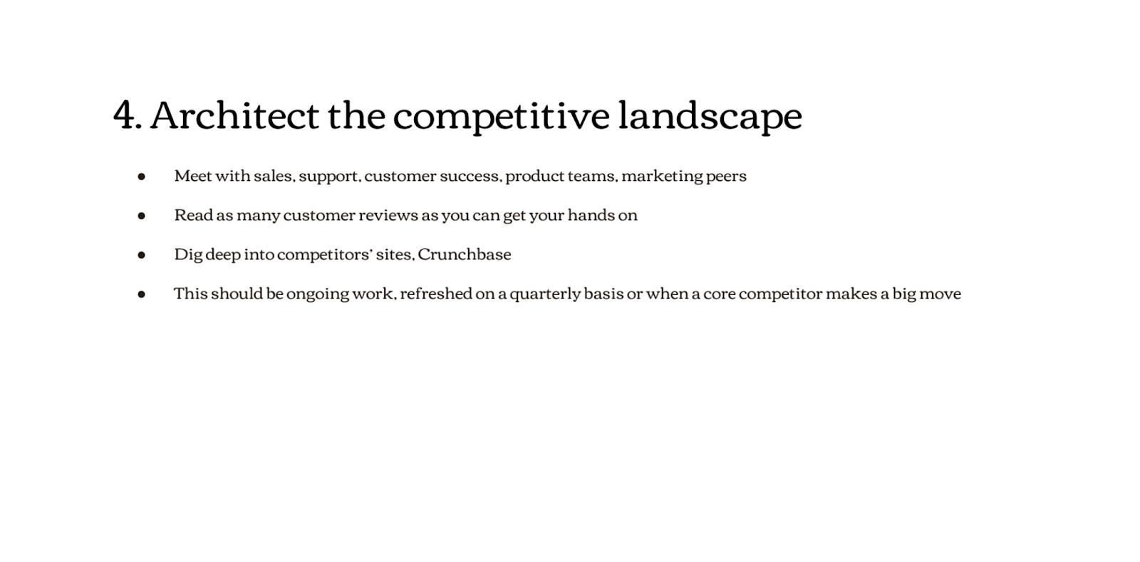 Architect the competitive landscape