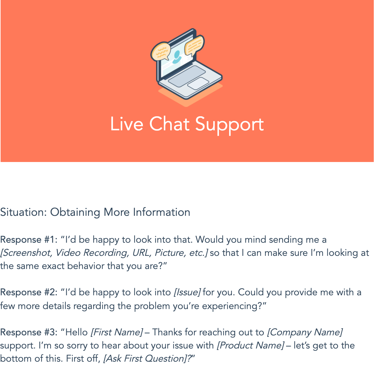 live chat support template from HubSpot
