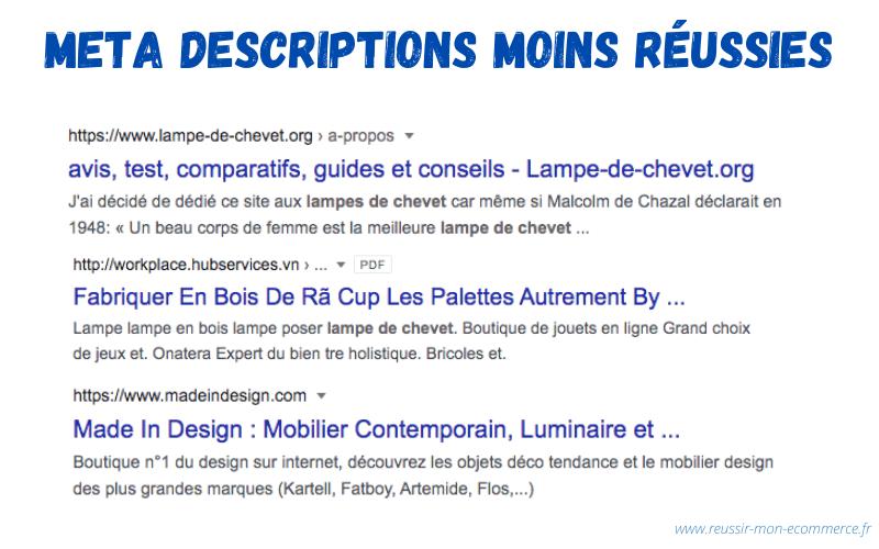 Exemples de meta descriptions râtées.