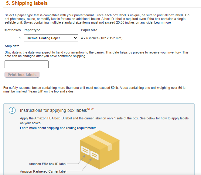Amazon Shipping Labels