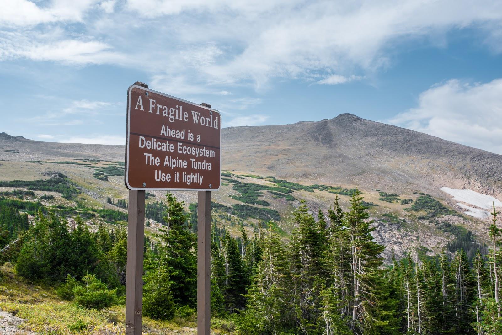Fragile World sign on bike climb up Trail Ridge