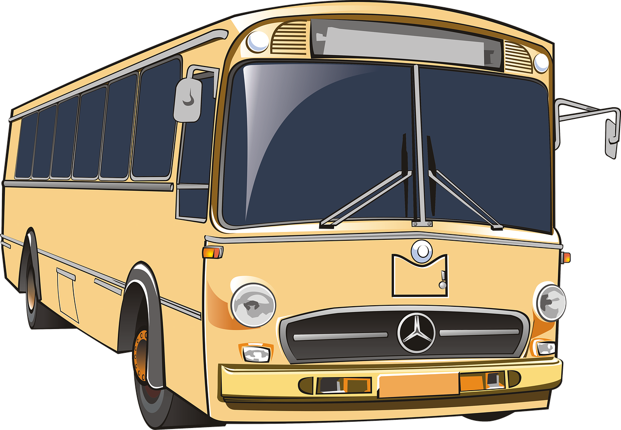 A yellow cartoon bus.