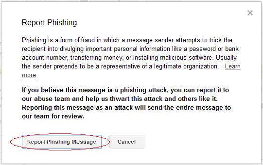 Report Phishing Message