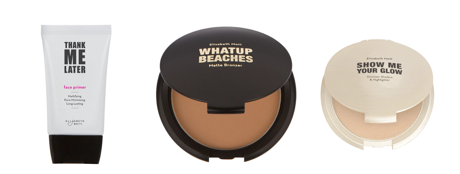 Elizabeth Mott - Face Primer, Matte Bronzer, Shimmer Shadow & Highlighter