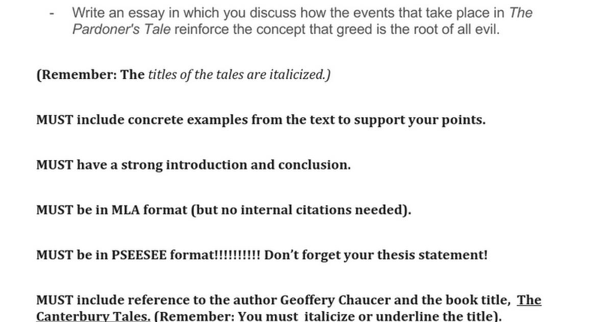 chaucer essay google docs