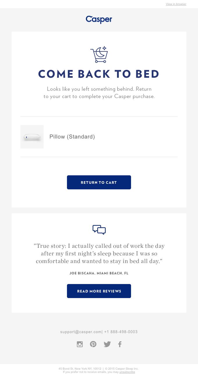 Casper cart abandonment email