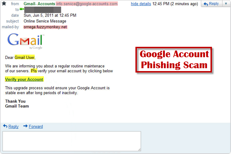 Image showing what to notice to identify a phishing email.