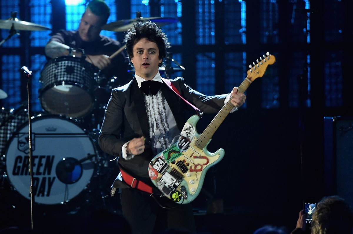 CLEVELAND, OH - APRIL 18: Inductee Billie Joe Armstrong of Green Day performs onstage during the 30th Annual Rock And Roll Hall Of Fame Induction Ceremony at Public Hall on April 18, 2015 in Cleveland, Ohio. (Photo by Mike Coppola/Getty Images)