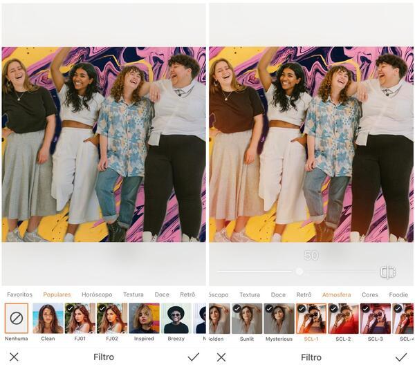Foto de quatro amigas sendo editada pelo AirBrush com a ferramenta Filtro