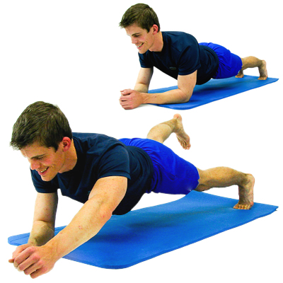 Plank with alternate arms and legs
