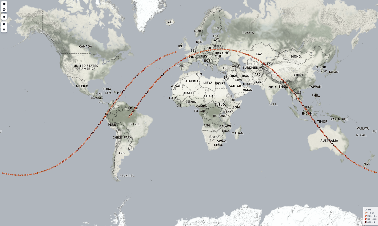 The path of the International Space Station - captured in real time using Filebeats and the Elasticsearch pipeline.