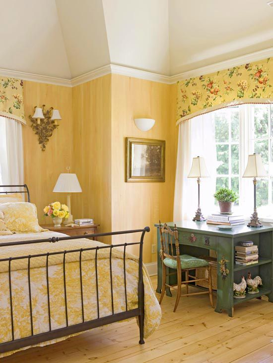 Green Table and Chair in Yellow Bedroom