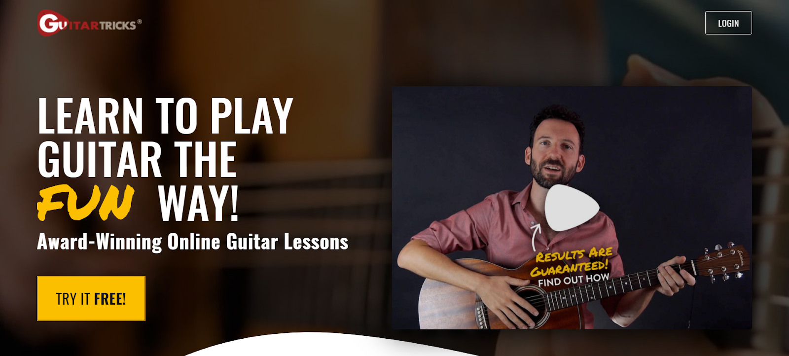 learn to play guitar with free trial button
