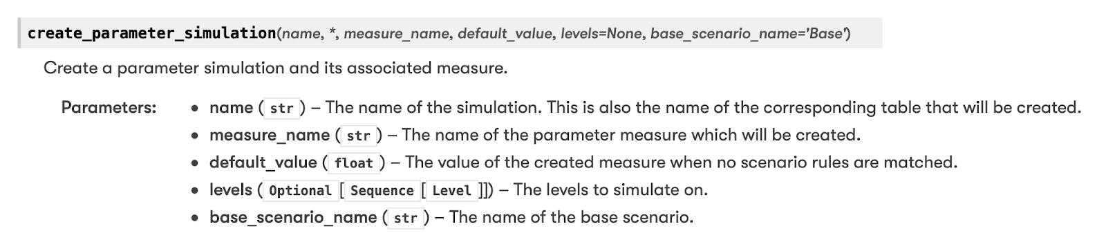 Parameter Simulation argument documentation
