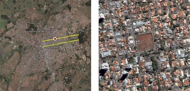 Na imagem à esquerda, está destacado em amarelo as duas principais avenidas da cidade onde se encontra um terreno desvalorizado em Campo Grande, MS. Na imagem à direita está uma imagem de cima do pedaço do terreno em meio aos outros prédios e casas na cidade.