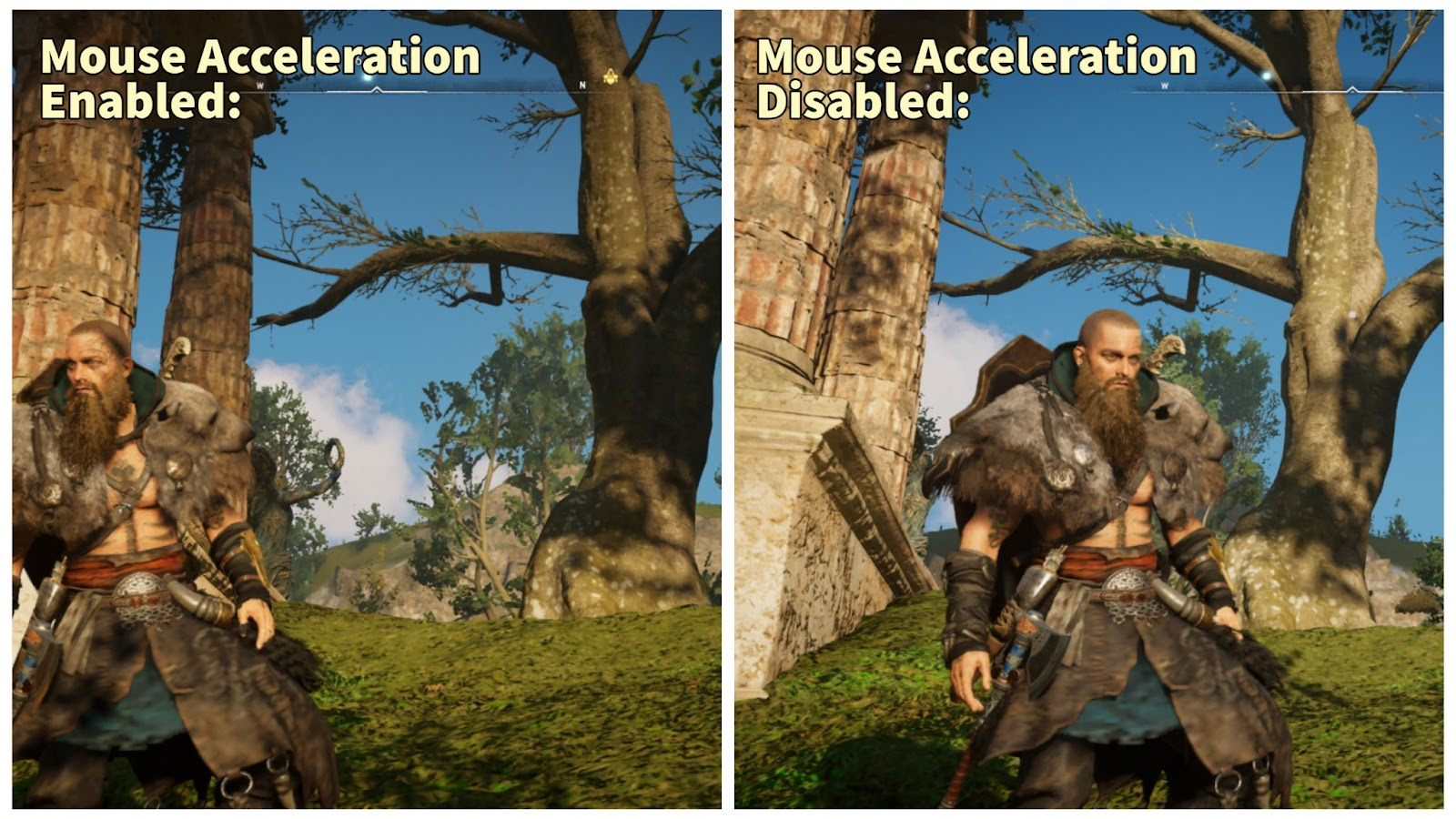 A collage containing two pictures of Eivor from Assassins' Creed Valhalla pictured to be in different distances away from a tree, with the titles Mouse Acceleration Enabled and Disabled, respectively