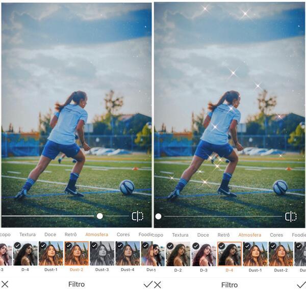 Foto de uma mulher jogando bola sendo editada pelo AirBrush usando o filtro Dust e Diamonds.