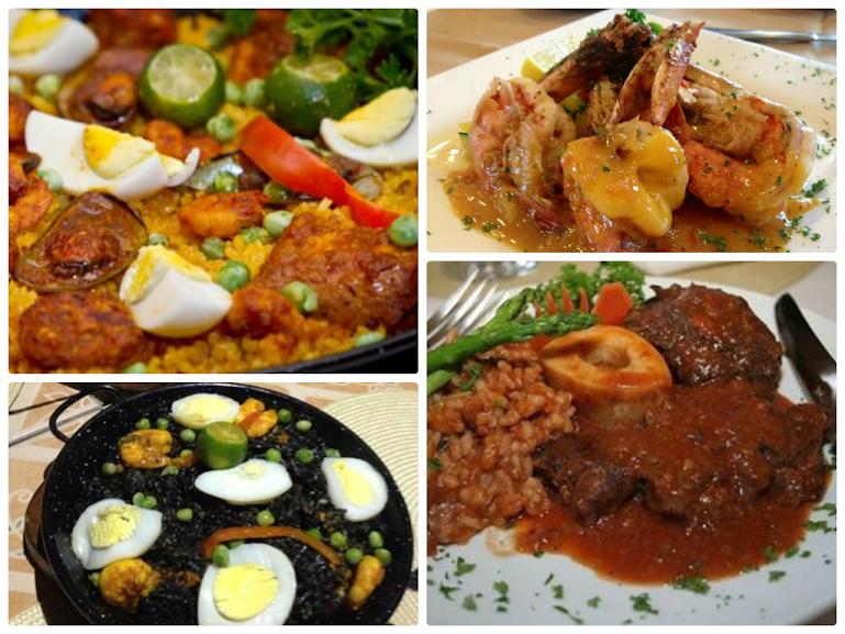 Paella espanola, gamberoni ala sarda, paella negra, ossobucco