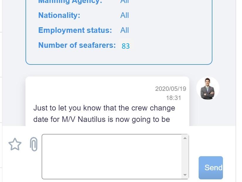 screenshot of Martide website showing the message thread