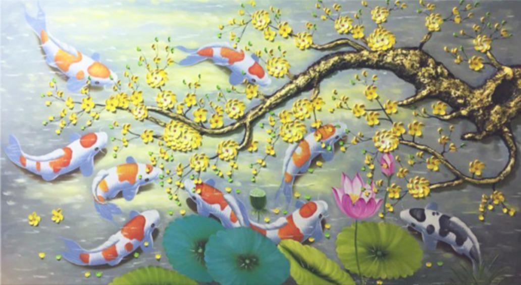 Tranh cá chép hoa mai