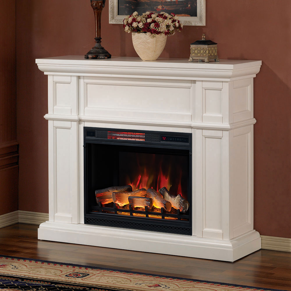 Artesian Infrared Electric Fireplace Mantel Package in White - 28WM426-T401