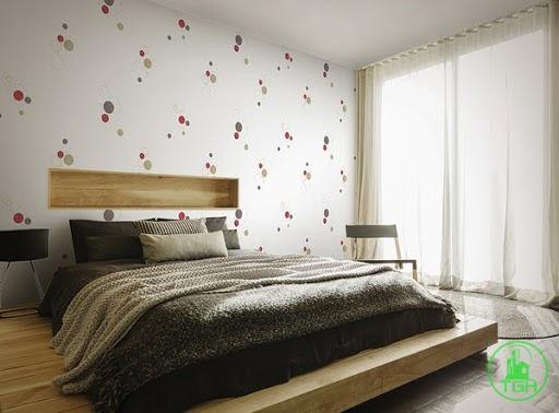 dán tường phỏng ngủ căn hộ