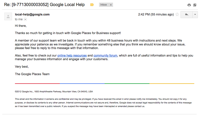 Google Local Help email