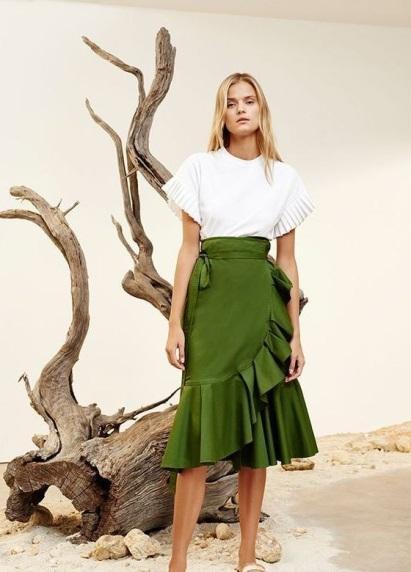 Olive green, Ruffle Skirt