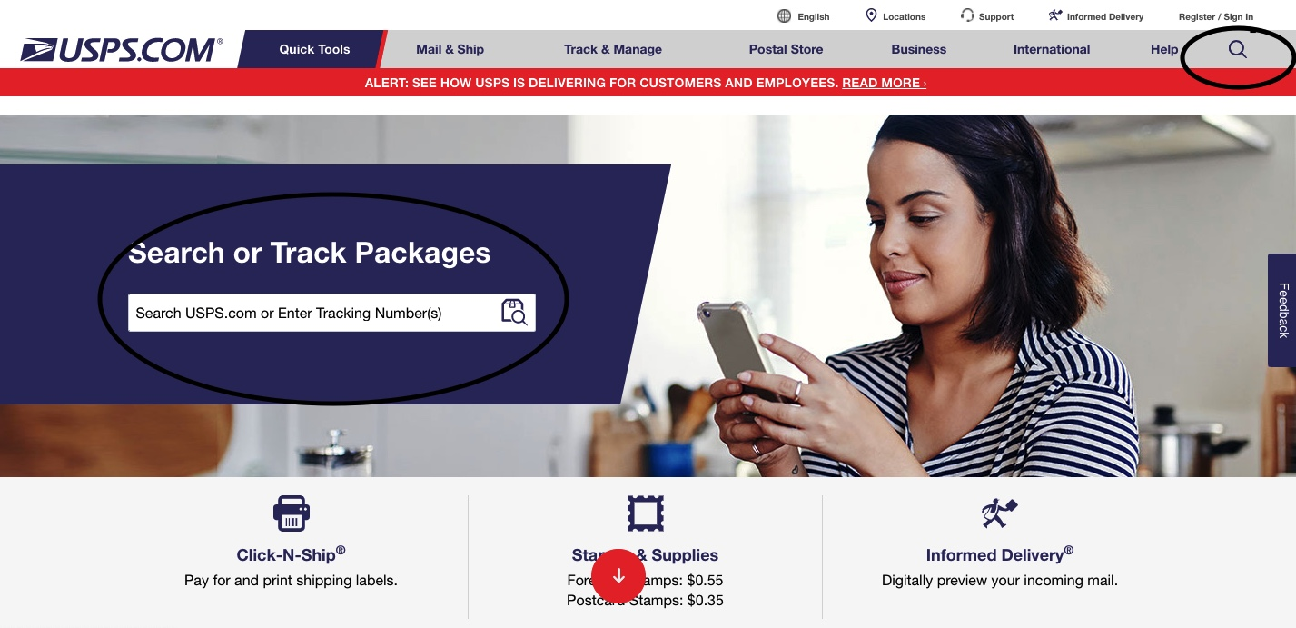 USPS.com homepage showing the search symbol for tracking packages