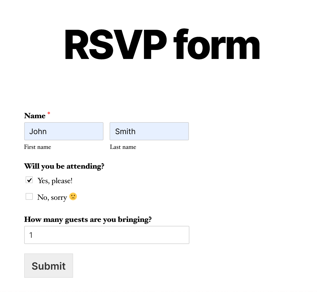 Sample RSVP form embedded in WordPress using WPForms plugin