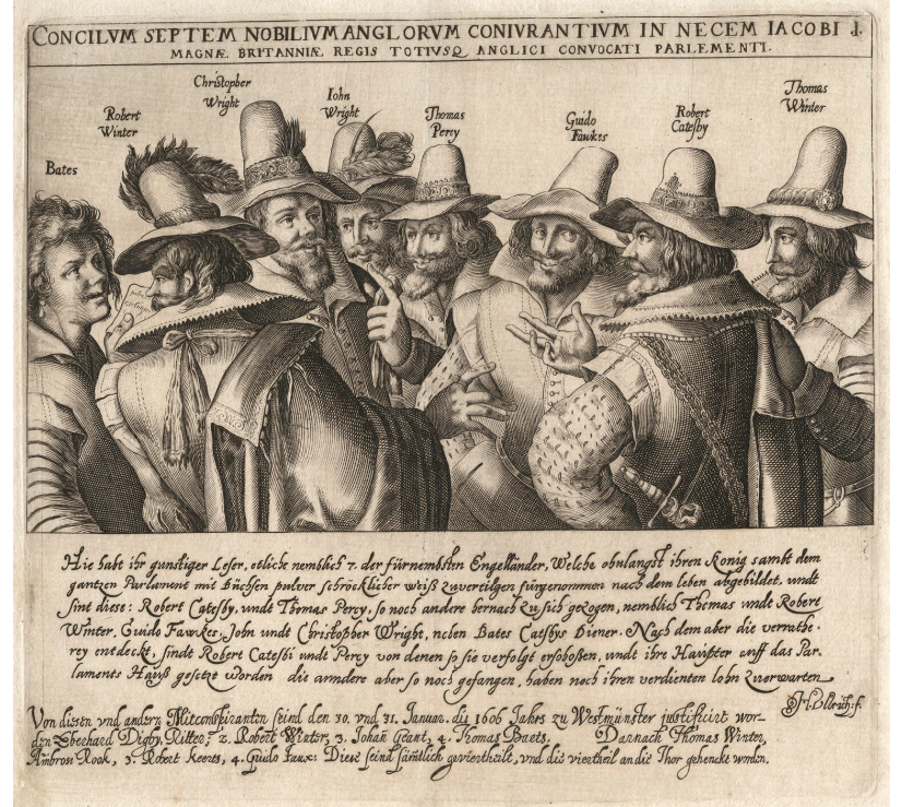 Eight of the 13 Gunpowder Plot conspirators shown in a line engraving from the early 17th century