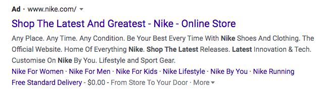 Nike.com meta title and meta description.