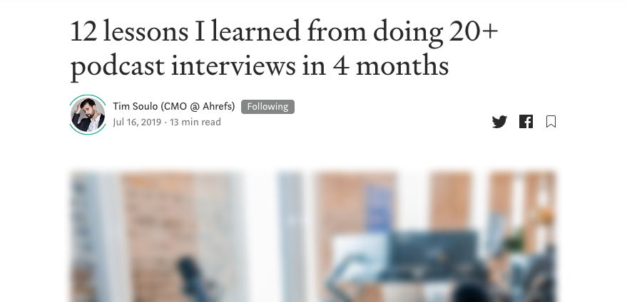 Screenshot of article title by Tim Soulo using podcasts for digital pr