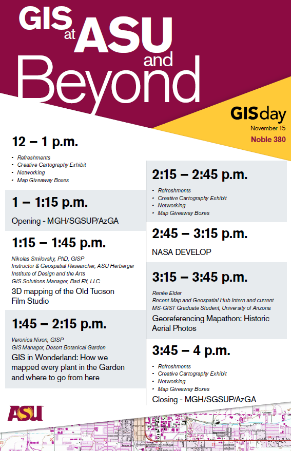 Image of schedule for GIS Day. To see details, see pdf below or text schedule below.