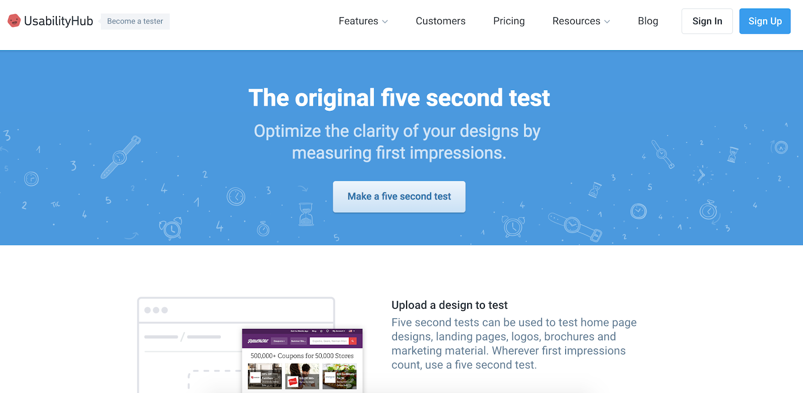 Usability Hub five second test