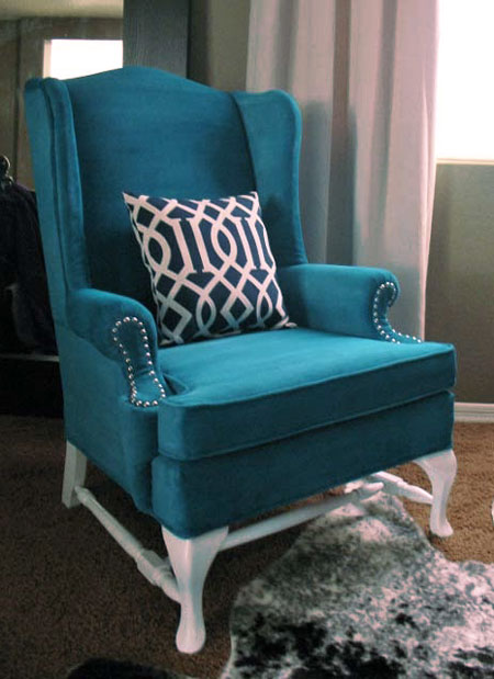 blue wingback chair with acrylic upholstery