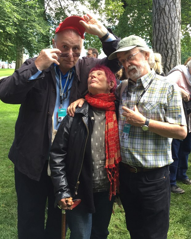 Giannalberto Bendazzi, Nancy and Peter Lord at the Dreamworks picnic