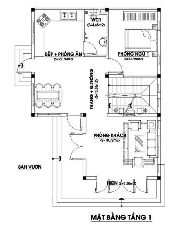 Bản vẽ mặt bằng biệt thự 2 tầng 4 phòng ngủ tầng 1