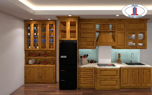 Tủ bếp gỗ sồi nga/mỹ