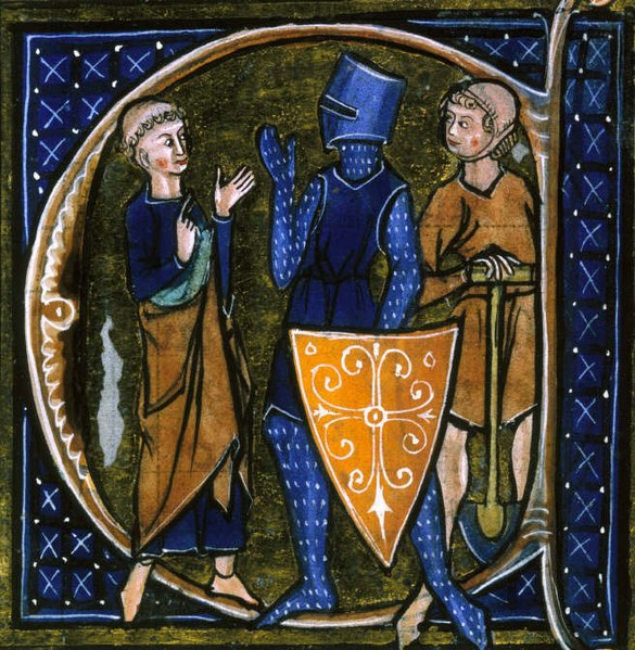 Medieval illustration of a peasant, knight, and clergyman.
